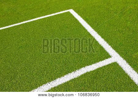 Green Empty Football Soccer Field With Corner