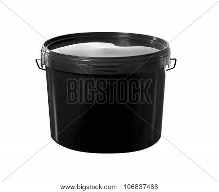 Black Plastic Painter Container - Mockup With Clipping Path