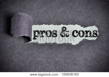 Pros & Cons Word Under Torn Black Sugar Paper