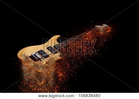 Electric Guitar in fire Isolated on Black Background