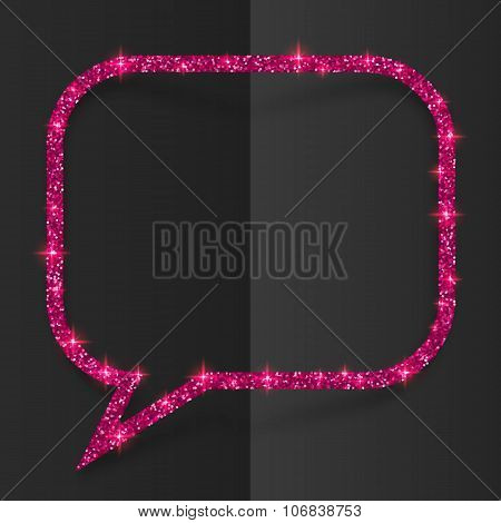 Pink glitter speech bubble frame isolated on black background