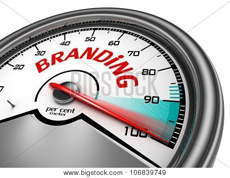 Branding Level Conceptual Meter Indicate Hundred Per Cent