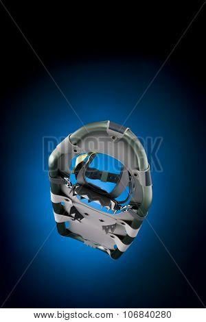 Modern Snowshoe Front Under View Isolated On Gradient Black And Blue