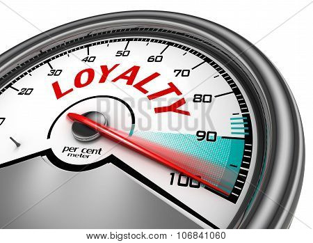 Loyalty Conceptual Meter Indicate Hundred Per Cent