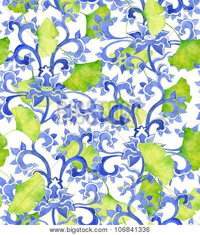 Chinese floral ornament pattern and green ginko leaves.