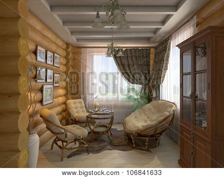 3D Illustration Of A Drawing Room And Hall Of The House From A Log