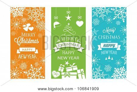 Set of typography Merry Christmas and Happy New Year banners with embellishments and Christmas ornaments.