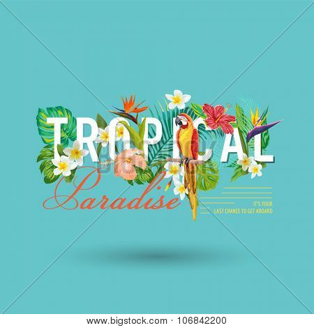 Tropical Bird and Flowers Graphic Design - for t-shirt, fashion, prints - in vector