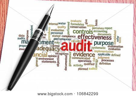 Paper, Pen And Word Cloud Of Audit