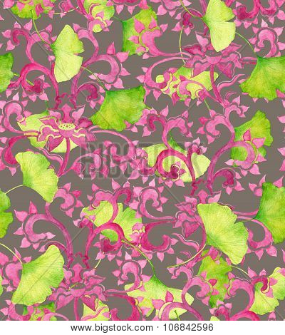 Chinese ornament and green ginko leaves. Seamless ornament
