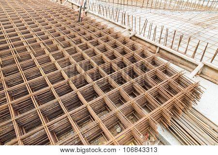 Concrete Metal Mesh Reinforcement At Construction Site