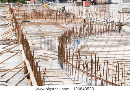 Concrete Metal Mesh Rebar At Construction Site For Floor Foundation