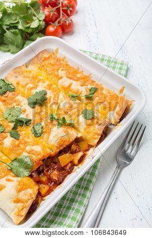 Beans and Vegetables Enchiladas