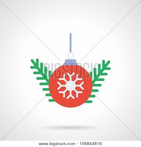 Red Christmas ball flat color vector icon