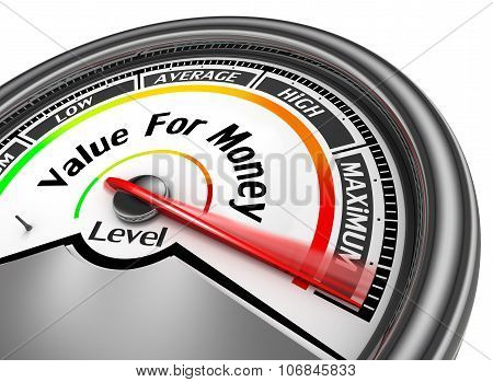 Value For Money Conceptual Meter To Maximum