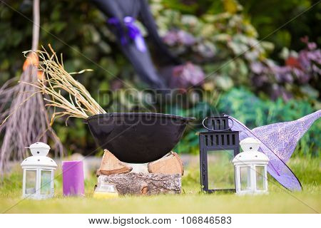 Halloween accessories: pot, hat, broom, candle, garlic and flashlights