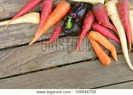 Organic Farm Vegetables Frame Wood Background