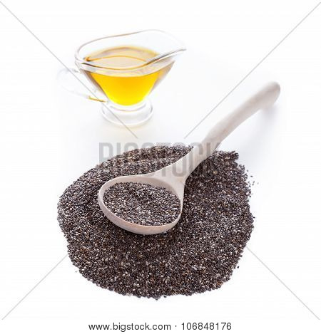 Chia Seeds In Spoon On White