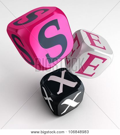 Sex Word On Pink Black Box Cubes