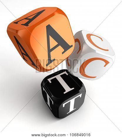 Act Word On Orange Black Dice Blocks