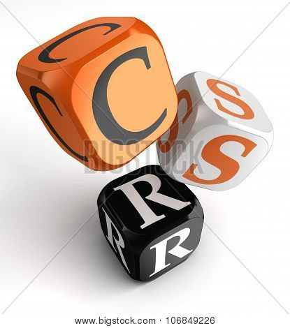Csr Acronym For Corporate Social Responsibility Orange Black Dice Blocks