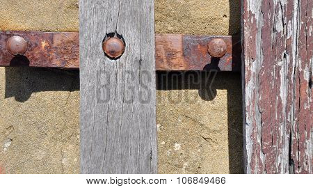 Rusted Metal and Distressed Wood Abstract