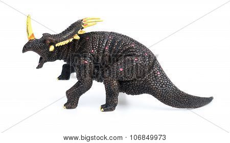 Triceratops Toy On A White Background