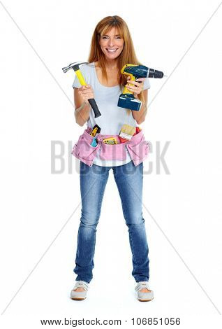 Woman with drill and hammer. Isolated white background.