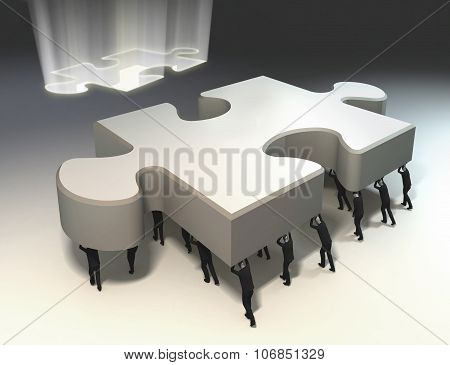 Teamwork Conceptual Image For Puzzle Solution