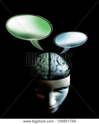 Conversation Inside Human Brain Concept