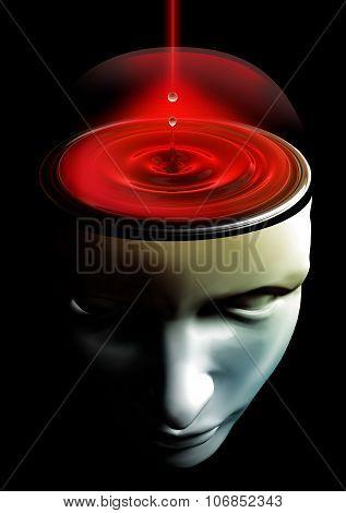 Liquid Head Brain Conceptual Futuristic Image