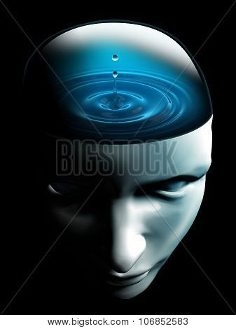 Water Drop On Human Head Conceptual Image