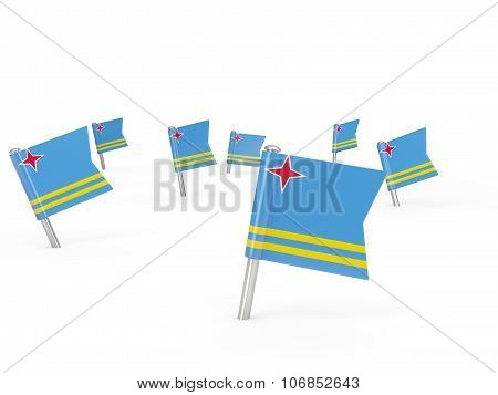 Square Pins With Flag Of Aruba