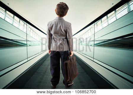 Child on escalator