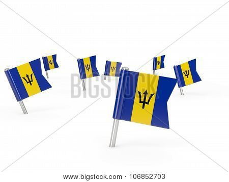 Square Pins With Flag Of Barbados