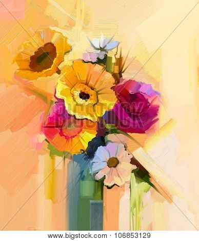 Oil Painting Still Life Of White, Yellow And Red Flower