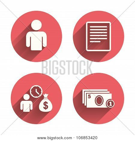 Bank loans icons. Fill document and get money.
