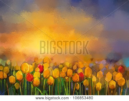Oil Painting Yellow And Red Tulips Flowers Field