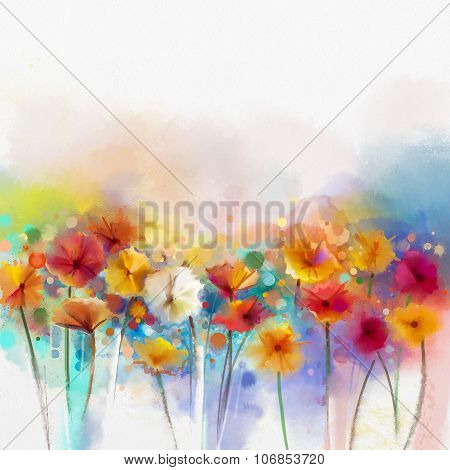 Abstract floral watercolor painting. Hand paint White Yellow Pink and Red color of daisy- gerbera fl