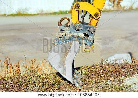 Rusty bulldozer scoop
