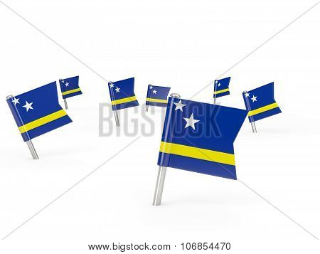 Square Pins With Flag Of Curacao