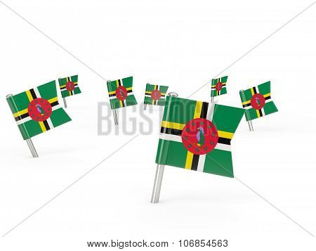 Square Pins With Flag Of Dominica