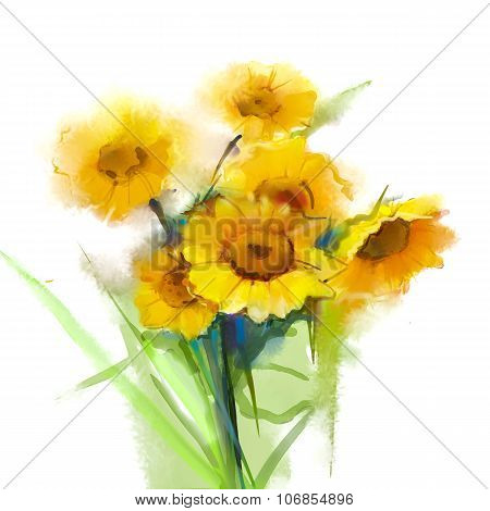 Oil Painting Still Life Yellow Sunflowers With Green Leaf On White Background.