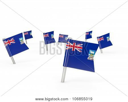 Square Pins With Flag Of Falkland Islands