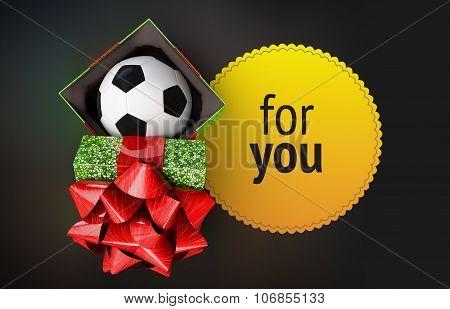 Shiny Gift Box Soccer Bal Ribbon Yellow Badge Dark Background Isolated Render