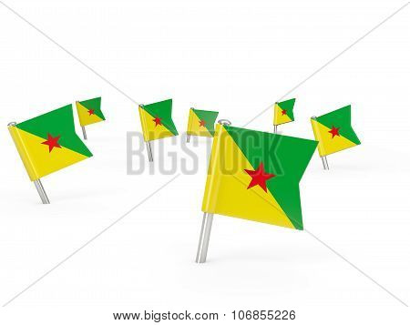 Square Pins With Flag Of French Guiana