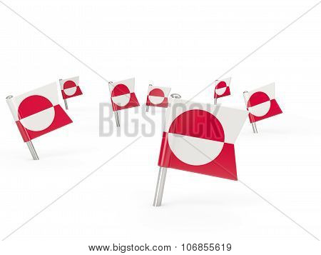 Square Pins With Flag Of Greenland