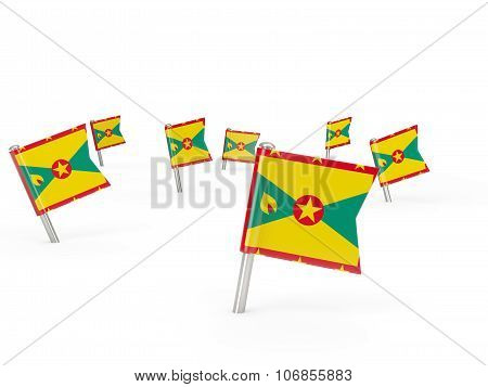 Square Pins With Flag Of Grenada