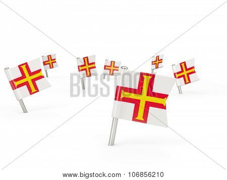 Square Pins With Flag Of Guernsey