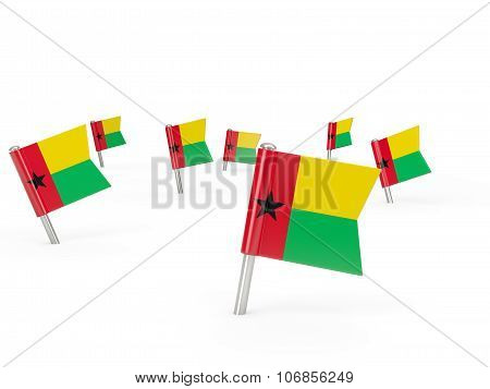 Square Pins With Flag Of Guinea Bissau